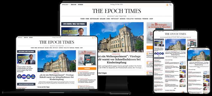 Epoch Times Webseite auf digitalen Geräten