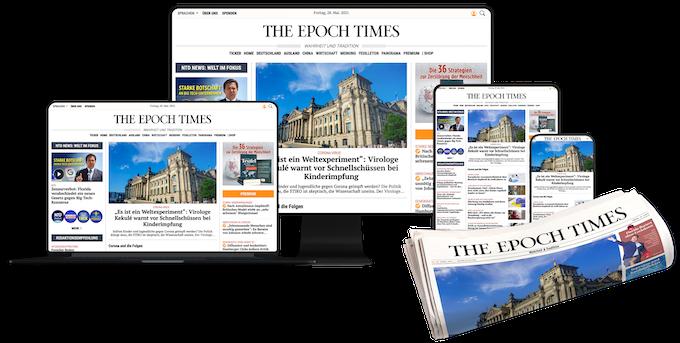 Epoch Times Webseite auf digitalen Geräten und einer Zeitung
